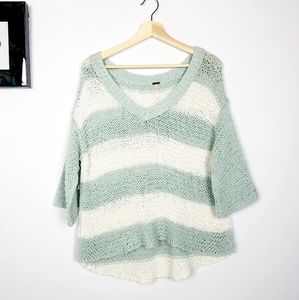 free people knit it striped quater sleeve sweeter